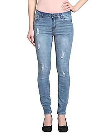 Distressed Light Blue Jean