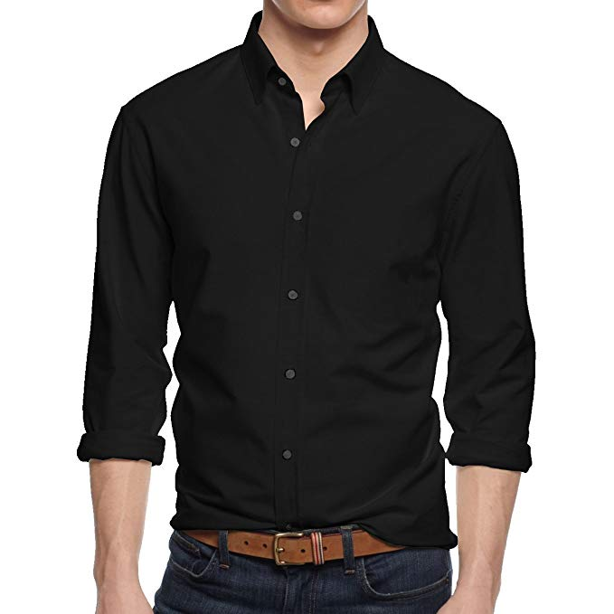 black-button-down-shirt