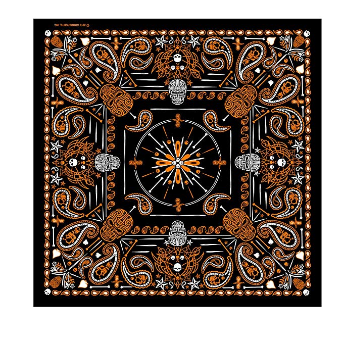 black-and-orange-paisley-bandana