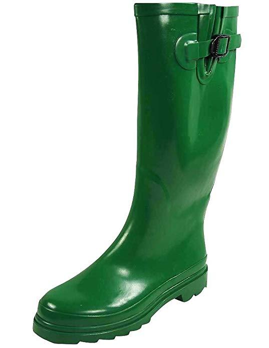 green-rubber-rain-boots