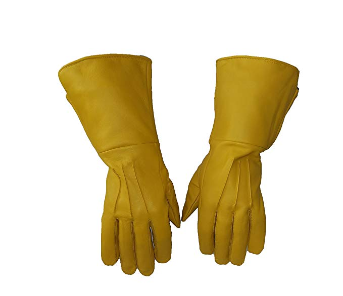 yellow-leather-gauntlet-gloves