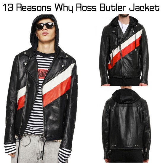 13 Reasons Why Ross Butler Black Leather Jacket