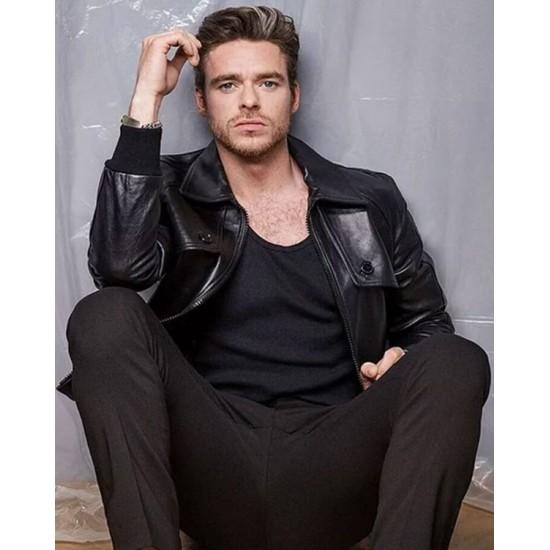 Eternals 2021 Ikaris Black Leather Jacket