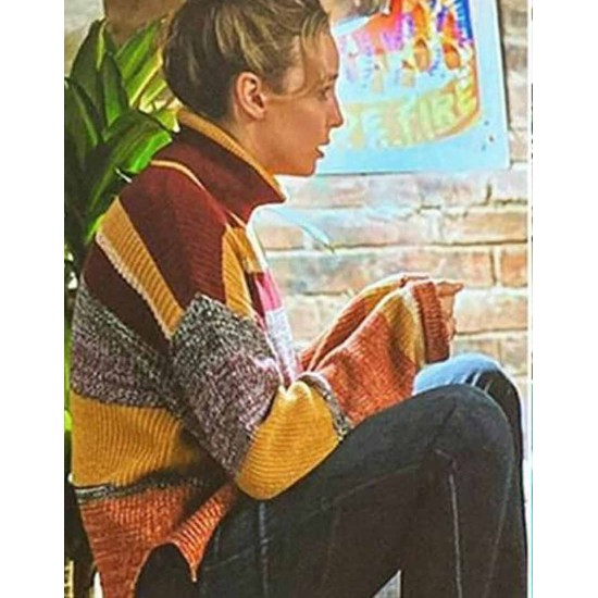 Free Guy Jodie Comer Woolen Striped Sweater