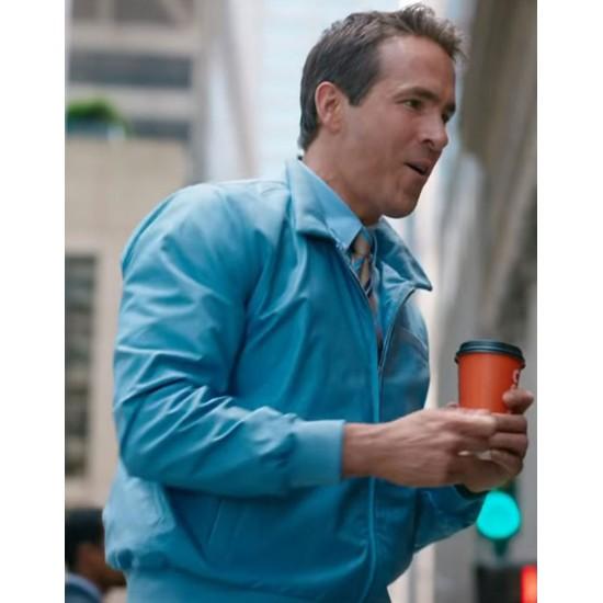 Ryan Reynolds Free Guy Blue Leather Jacket