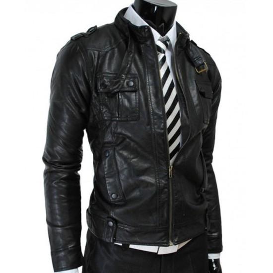 Biker Style Men's Strap Pocket Slim Fit Black Leather Jacket