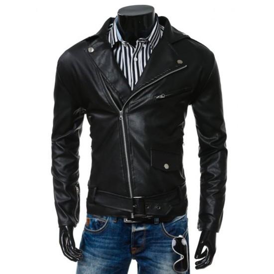 Men's Asymmetrical Slim Fit Belted Waistline Faux Leather Black Jacket