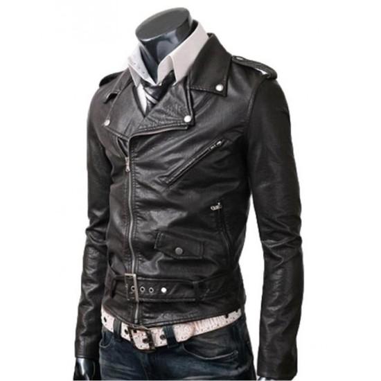 Men's Asymmetrical Zipper Biker Style Slim Fit Belted Black Leather Jacket