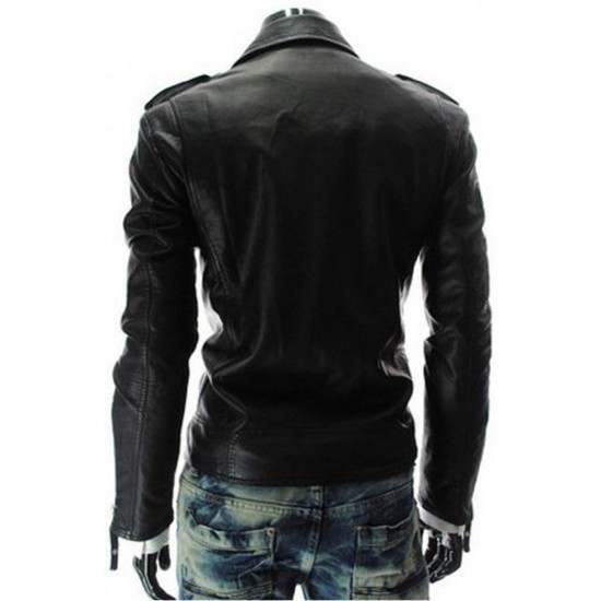 Men's Asymmetrical Zipper Style Slim Fit Black Leather Jacket