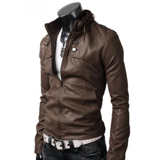 Men's Belted Buckle Collar Slim Fit Brown Leather Jacket