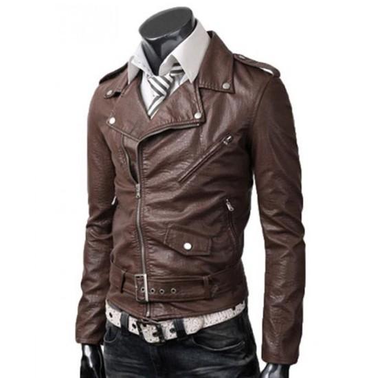 Men's Biker Asymmetrical Zipper Slim Fit Belted Brown Leather Jacket