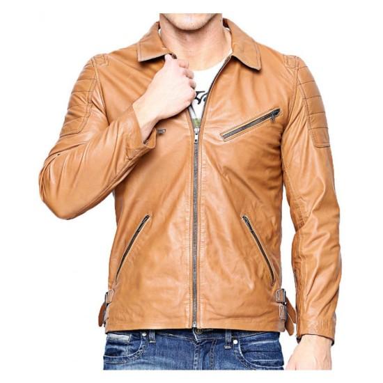 Men's Biker Slim Fit Light Brown Leather Jacket
