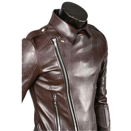 Men's Biker Style Asymmetrical Zipper Slim Fit Brown Jacket