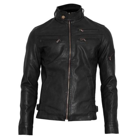 Men's Black Faux Leather Moto Jacket