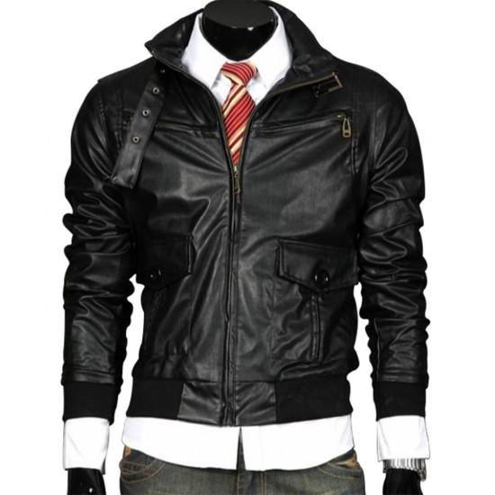 Men's Casual Wear Slim Fit Belted Buckle Collar Black Leather Jacket