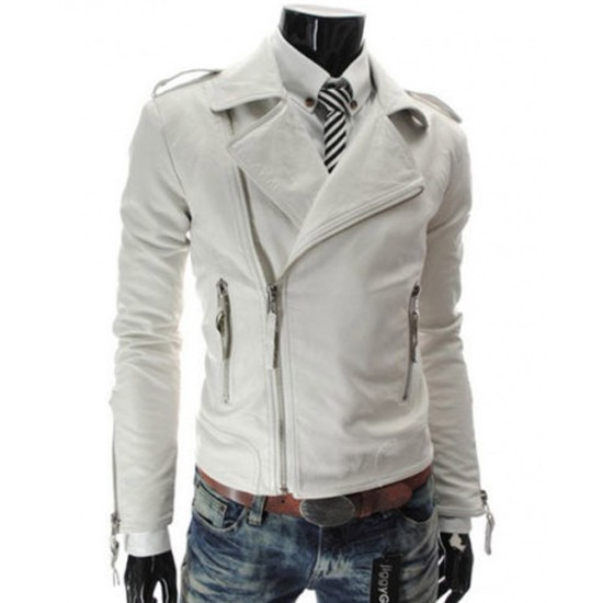 Men's Slim Fit Asymmetrical Zipper White Leather Jacket