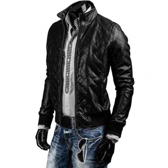 Men's Slim Fit Black Leather Quilted Jacket
