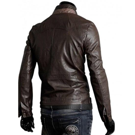 Men's Slim Fit Chocolate Brown Leather Jacket