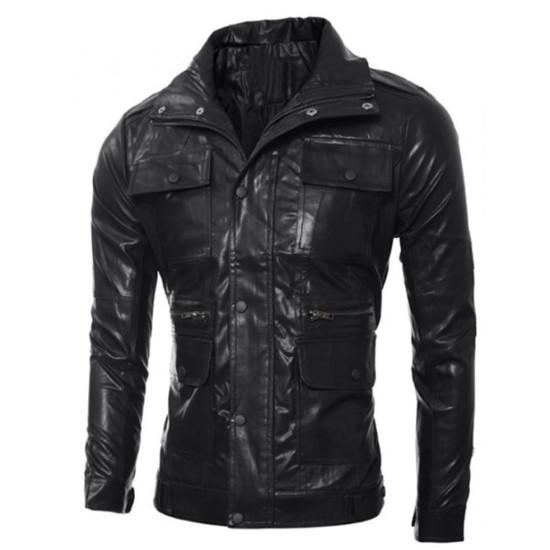 Men's Slim Fit Multi Pocket Design Black Faux Leather Jacket