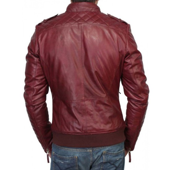 Men's Slim Fit Stand Collar Burgundy Leather Jacket