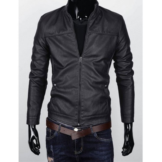 Men's Slim Fit Stand Collar Zipper Up Faux Leather Jacket