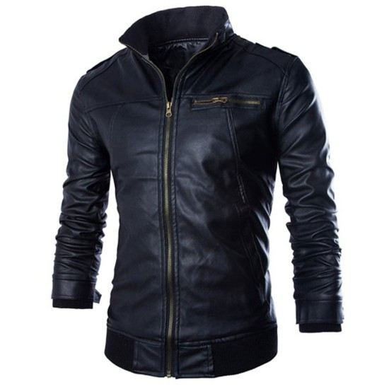 Men's Slimming Fit Stand Collar Faux Black Leather Jacket