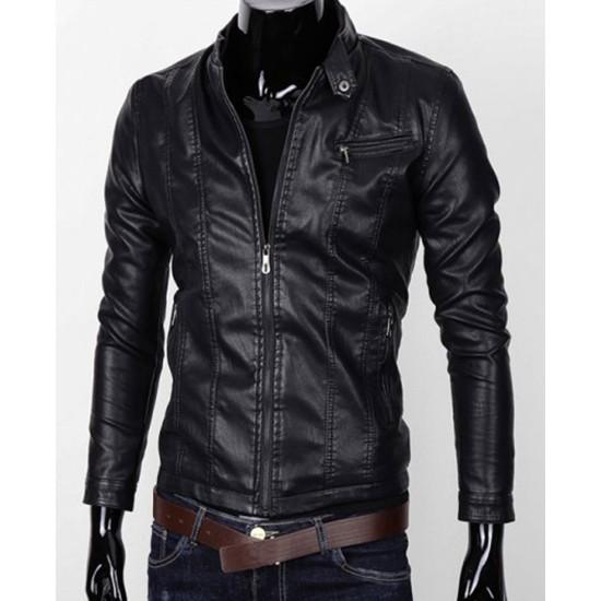 Men's Stand Collar Zipper Pocket Slim Fit Faux Leather Jacket
