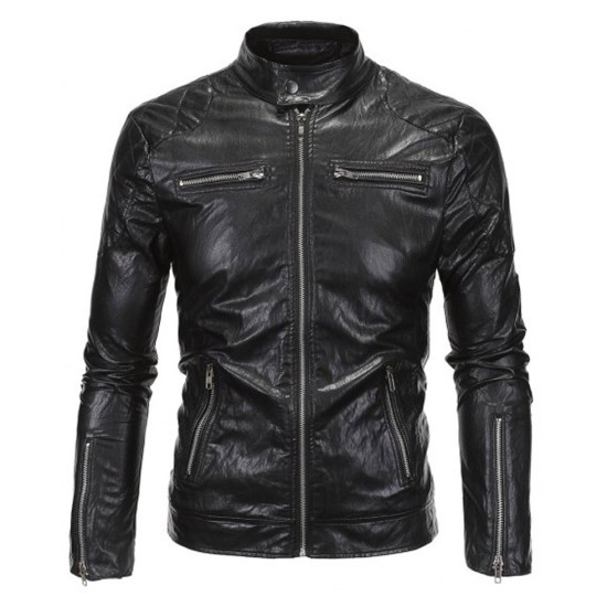 Stand Collar Men's Zipper Pockets Black Faux Leather Jacket