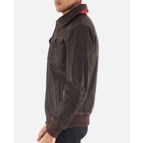 Aaron Bomber Brown Leather Jacket
