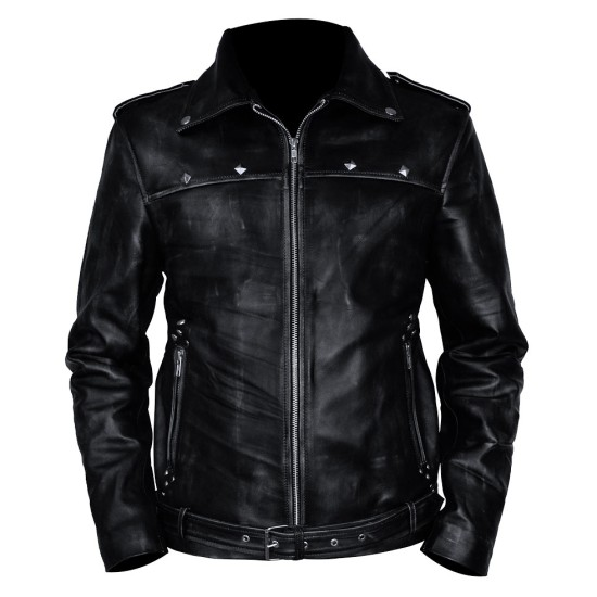 Aaron Paul A Long Way Down Black Distressed Leather Jacket