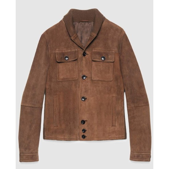 Aaron Taylor Johnson Brown Suede Leather Jacket