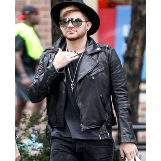 Adam Lambert Biker Black Leather Jacket