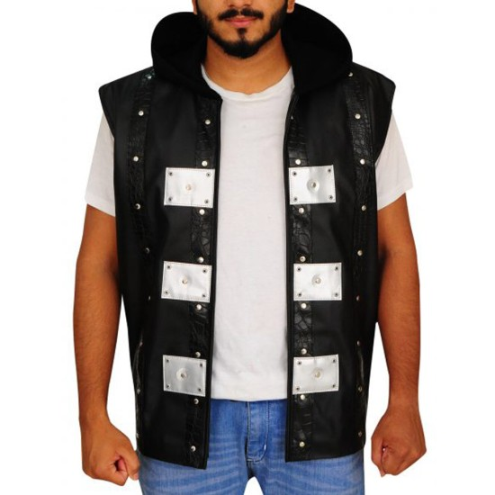 AJ Style P1 Black Leather Vest with Hood