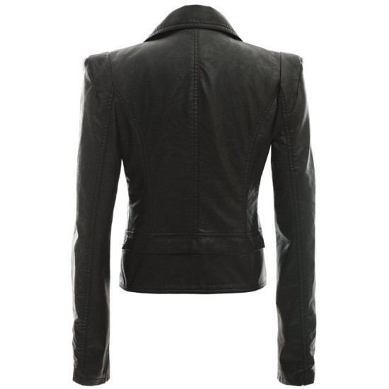 Women's Alabama Black Leather Motorcycle Jacket