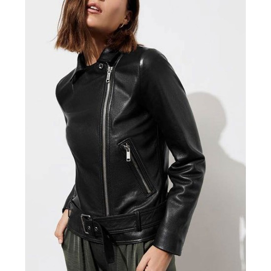13 Reasons Why Alisha Boe Biker Black Leather Jacket
