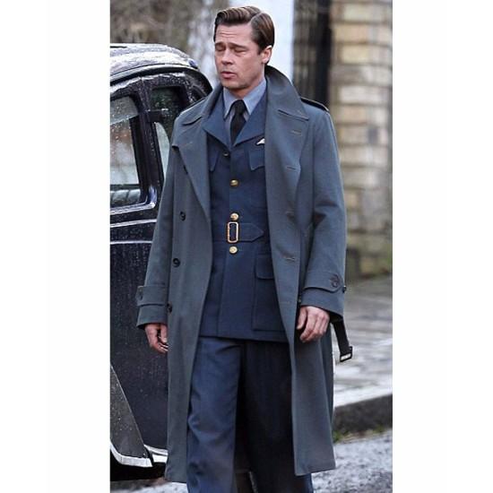 Double Breasted Blue Allied Brad Pitt Coat