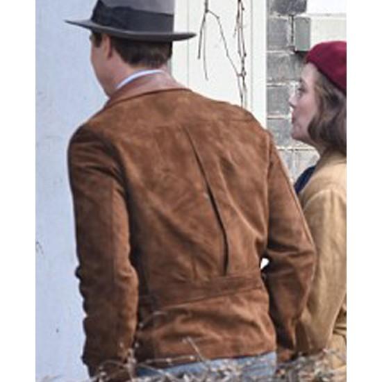 Allied Brad Pitt Brown Suede Leather Jacket