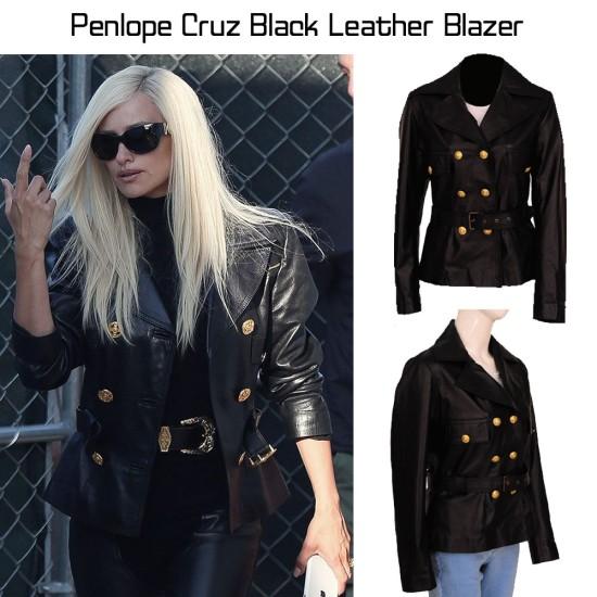 American Crime Story Penlope Cruz Black Leather Blazer
