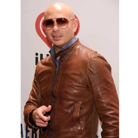American Rapper Pitbull Brown Jacket