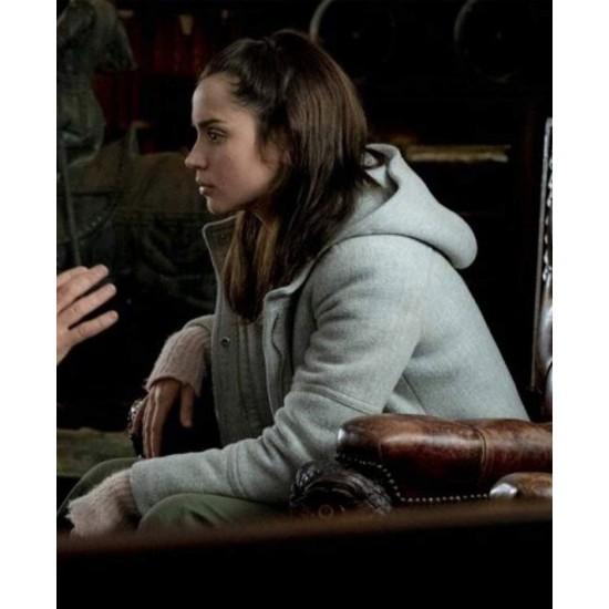 Ana De Armas Knives Out Grey Coat