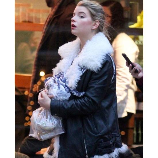 Ana Taylor Joy Fur Leather Jacket