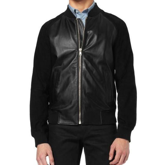 Andrew Garfield Jacket with Black Suede Leather Sleeves