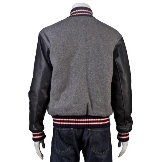 Andrew Garfield Varsity Wool Jacket with Leather Sleeves