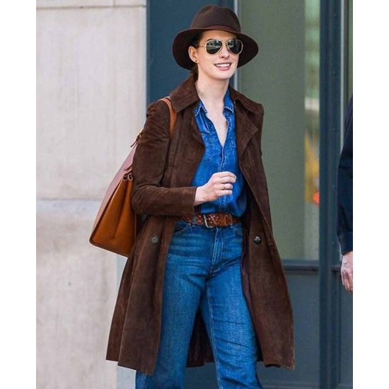 Anne Hathaway Brown Suede Leather Coat