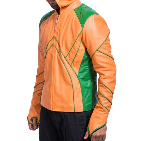 Smallville Aquaman Leather Jacket with Hoodie
