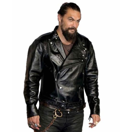 Aquaman Jason Momoa Black Leather Biker Jacket