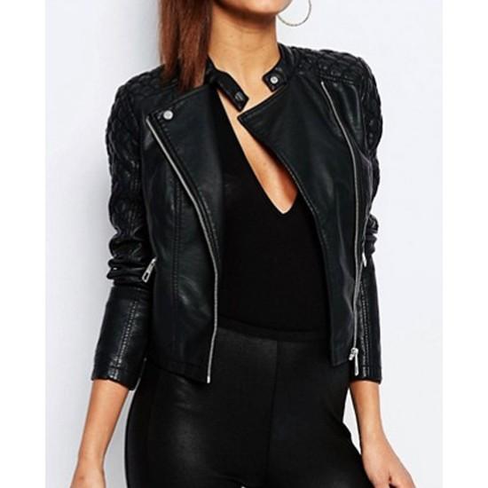 Ariana Grande Biker Black Leather Jacket