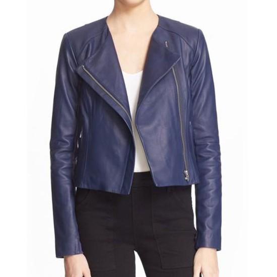 Arrow S05 Emily Bett Rickards Blue Leather Jacket