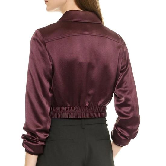 Emily Bett Rickards Arrow Burgundy Cropped Jacket