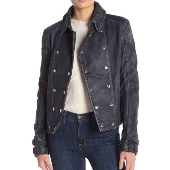 Arrow Juliana Harkavy Double Breasted Black Leather Jacket